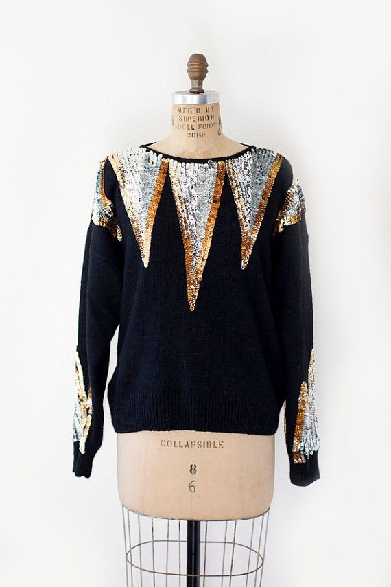 vintage 80's sequin sweater size M by glassdeerapparel on Etsy, $40.00