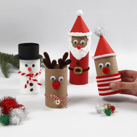 Christmas figures from cardboard tubes with decora