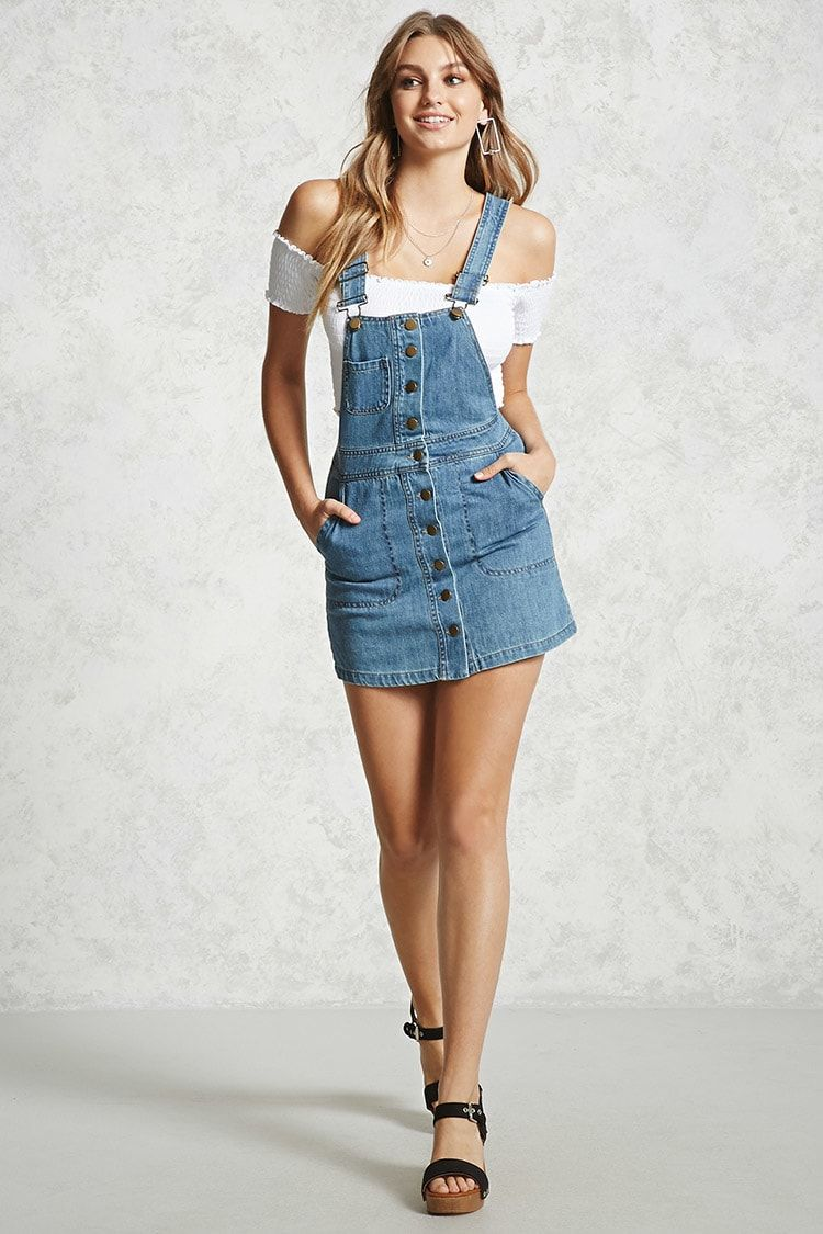 eee76843bef006 Product Name:Contemporary Overall Dress, Category:dress, Price:29.9. A  denim overall dress featuring a buttoned placket ...
