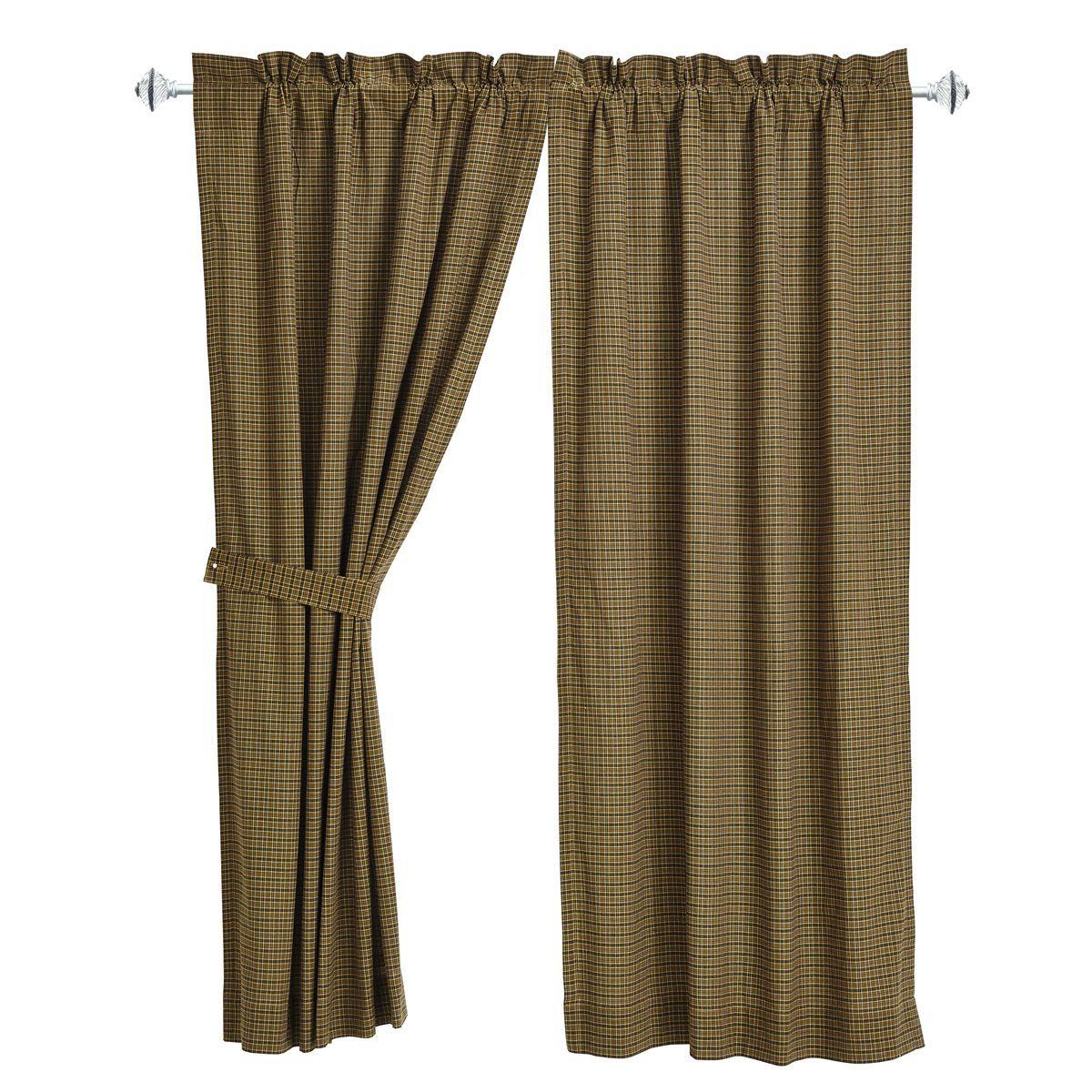 Tea Cabin - Green Plaid - Short Panels (Set of 2) - 63x36 - Window Treatment