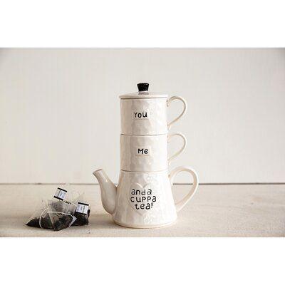 Winston Porter Aldery 3 Piece Stoneware Me You And A Cuppa Tea Tea Set #cuppatea