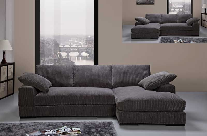 Modern Charcoal Soft Fabric Sectional Sofa Couch Reversible Chaise