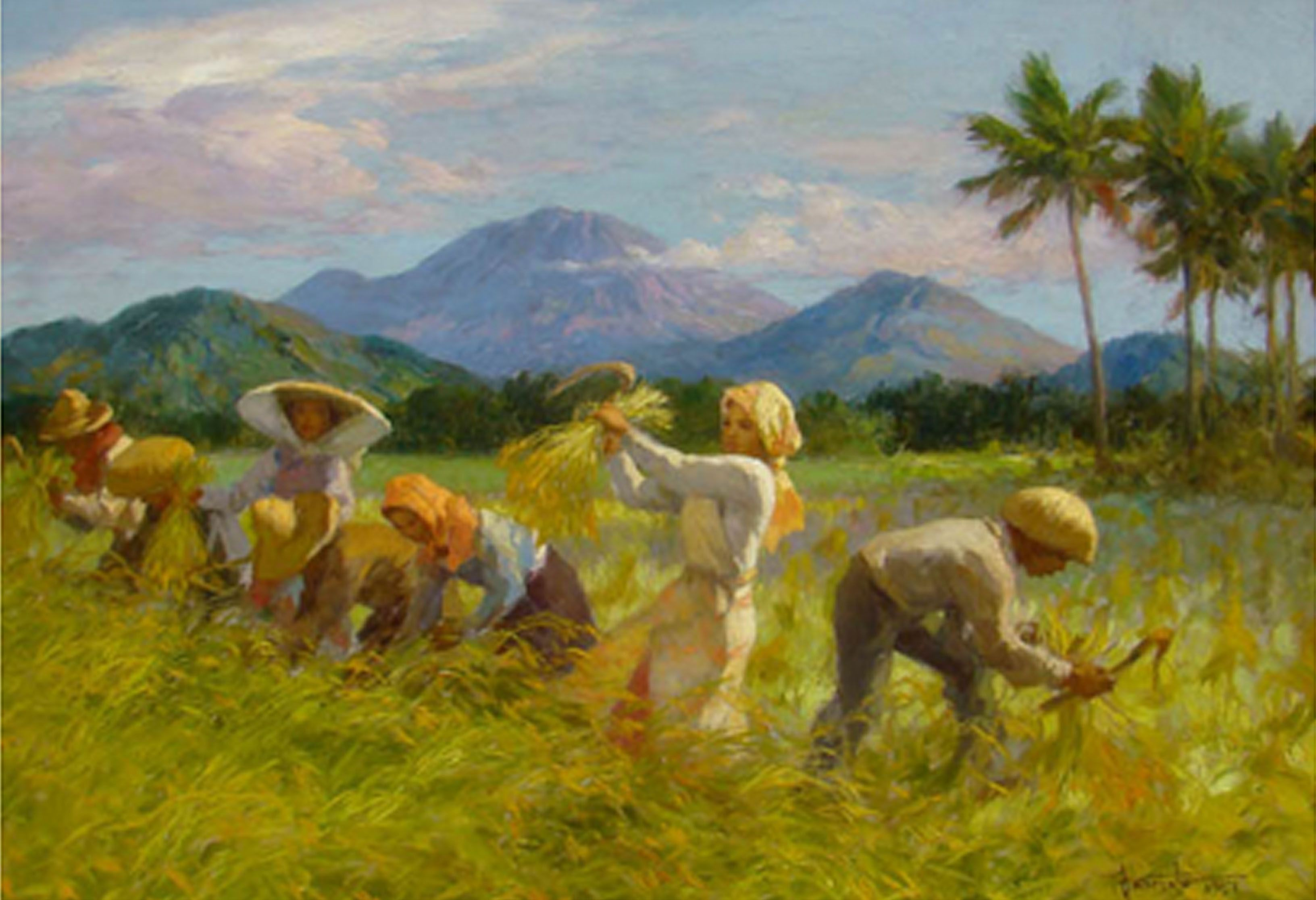The mountains in Fernando Amorsolo's paintings Filipino