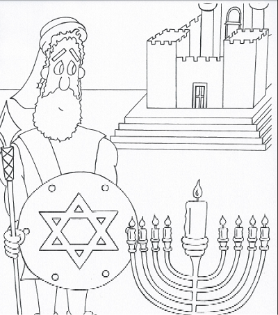 Judah the Maccabee Cute and original coloring page for Hanukkah