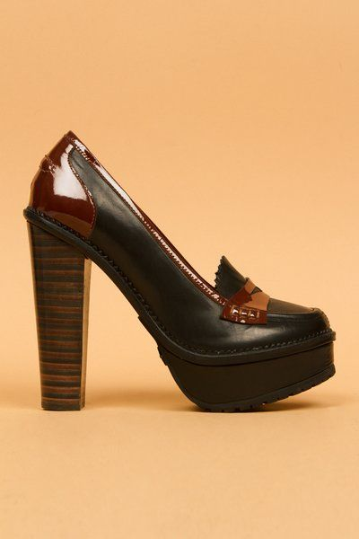 f863c2560d0e86 Opening Ceremony Laetita 1 stacked heel loafer
