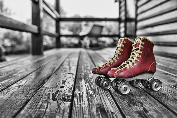 Red Roller Skates: photograph of vintage red roller skates on a weathered wooden porch,digitally enhanced. Available on fineartamerica. http://xposed-bydesign.fineartamerica.com