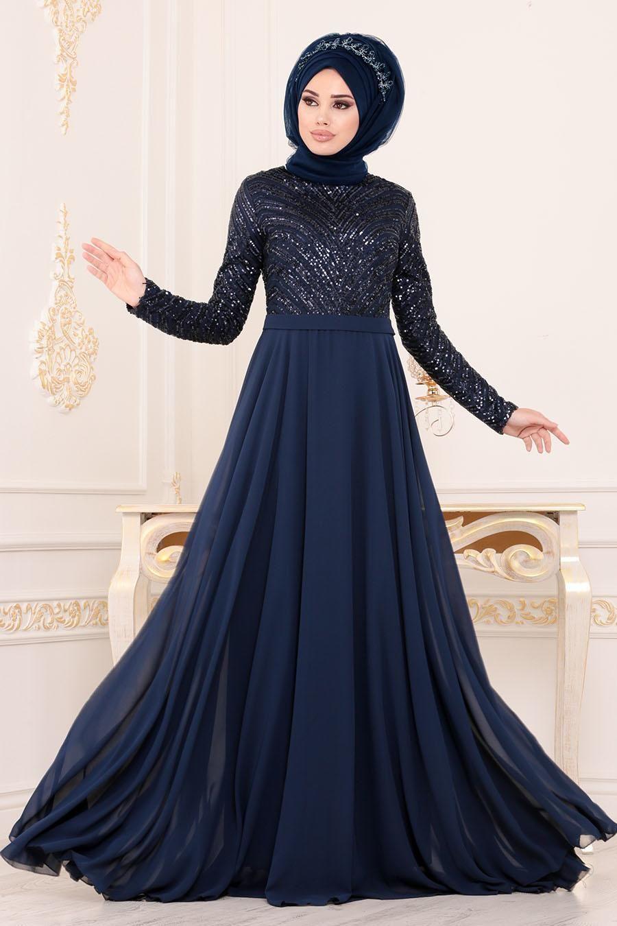 Tesetturlu Abiye Elbiseler Pul Payetli Lacivert Tesettur Abiye Elbise 8588l Tesetturisland Com Elbiseler Resmi Elbise Elbise