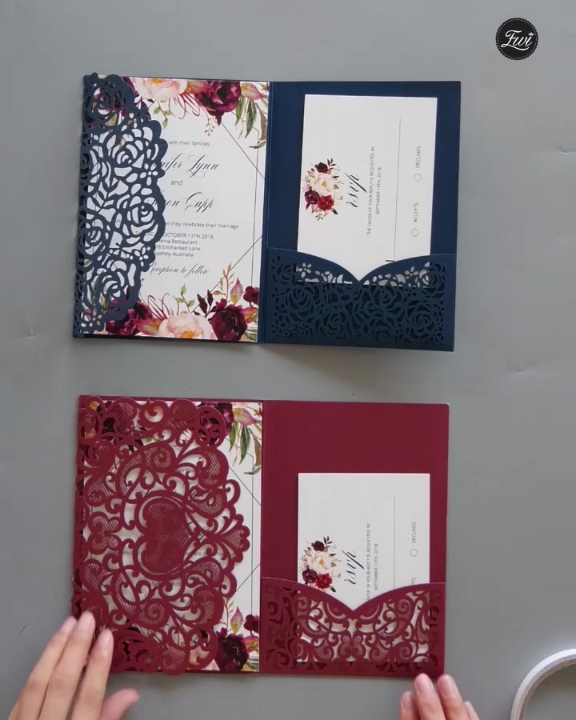 Pin By Anisha On Wedding Invites Simple In 2019: Burgundy Laser Cut Pocket Fold With Floral And Geometric