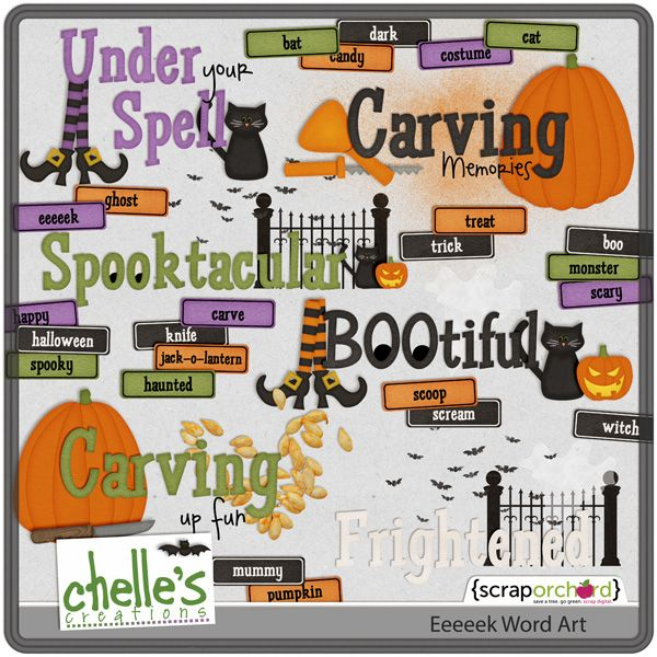 Eeeeek! Word Art , Halloween headers toppers titles