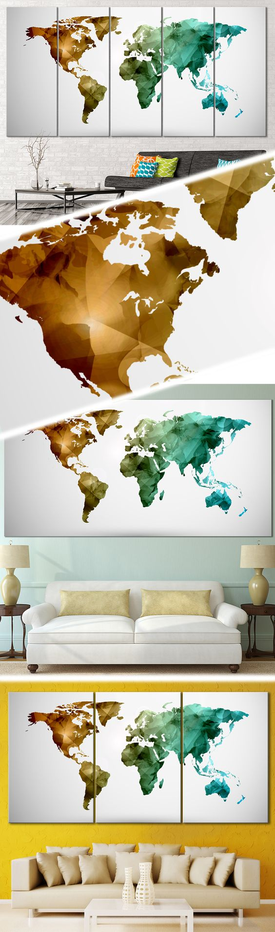 Low poly world map 111 canvas print low poly office walls and creative world map canvas prints wall art for large home or office wall decoration sale gumiabroncs Gallery