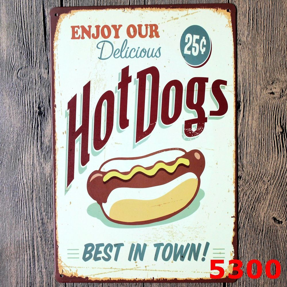 Metal Decorative Signs Tin Sign Hotdogs Pinup Metal Decor Wall Art Garage Hot Shop Bar