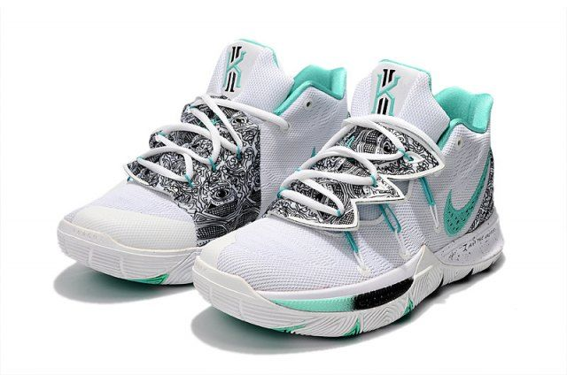 342fc477016 Nike Kyrie 5 PE White Mint Green-Black Men s Basketball Shoes Irving  Sneakers
