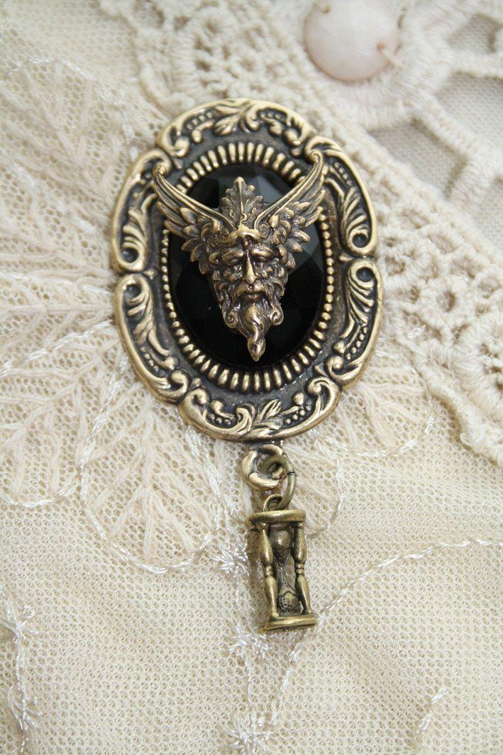 Keeper of time -  Gothic Victorian Nouveau Fantasy Brooch Brass Black Sandtimer Hourglass Black Stone. $20.00, via Etsy.