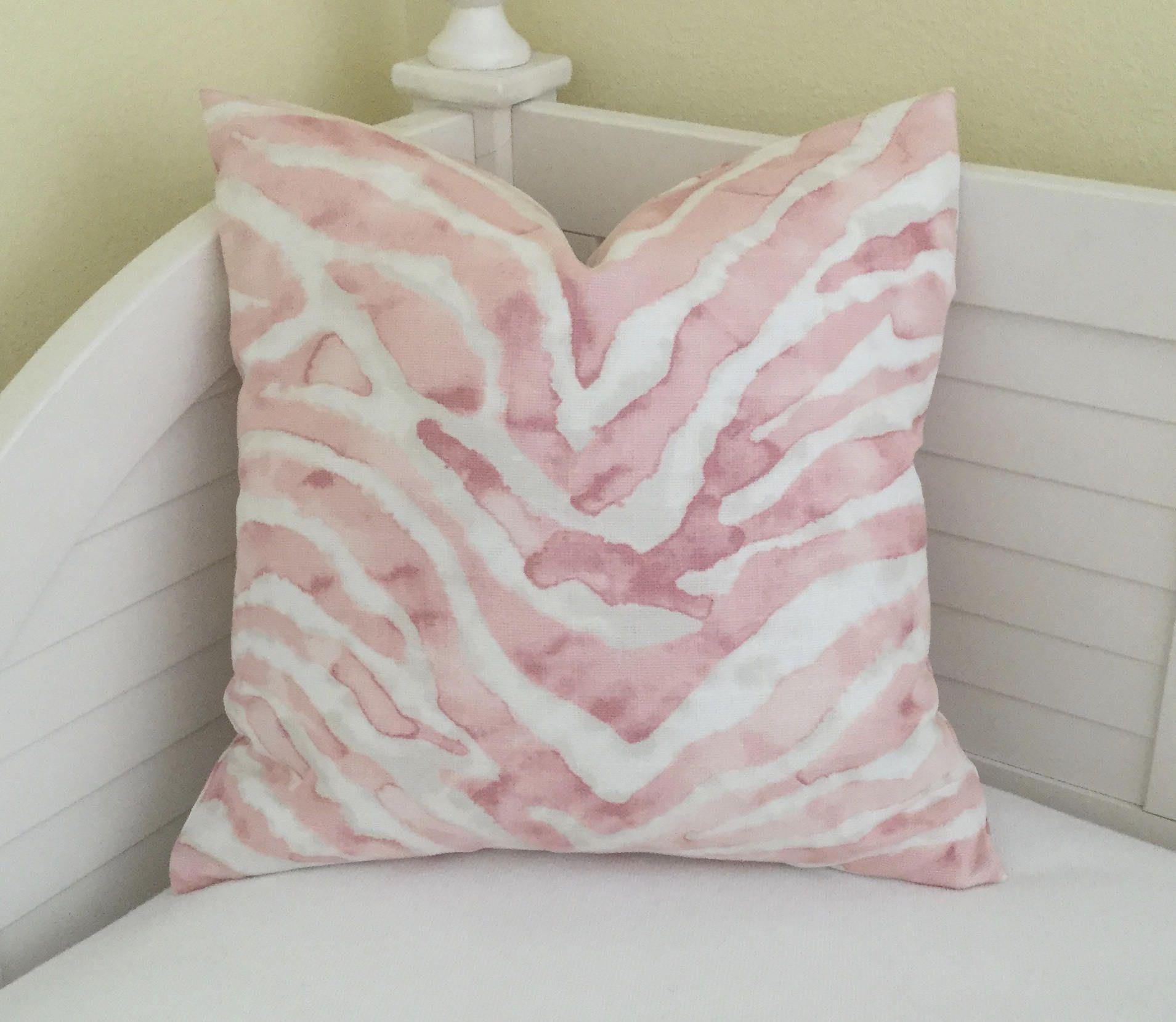 Blush petal pink animal print designer pillow cover on both sides