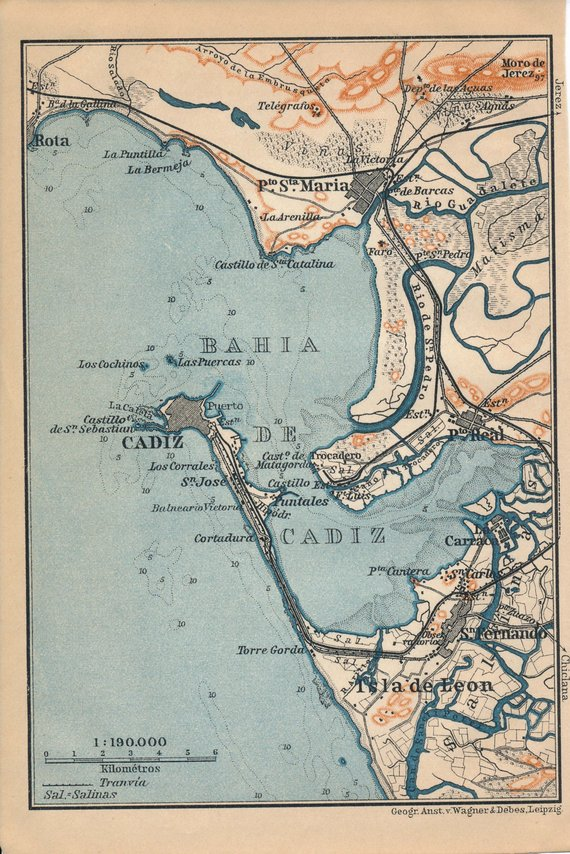 Map Of Spain And United Kingdom.1913 Cadiz Spain Antique Map Products In 2019 Map Cadiz Cadiz