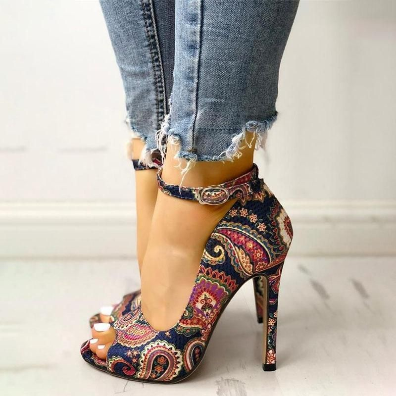 Details about  /Black Stiletto Open Toe Ankle Strap High Heel