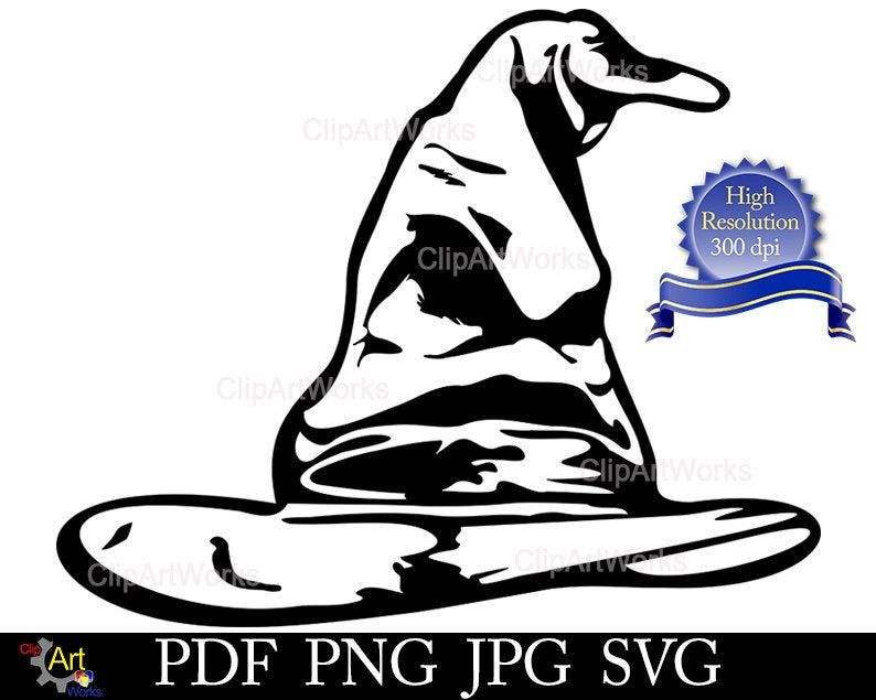 Sorting Hat Svg Harry Potter Clipart For Cricut Design Space Cameo Silhouette And Other Machines Png Jpg Svg Harry Potter Chapeau Harry Potter Emballage Cadeau
