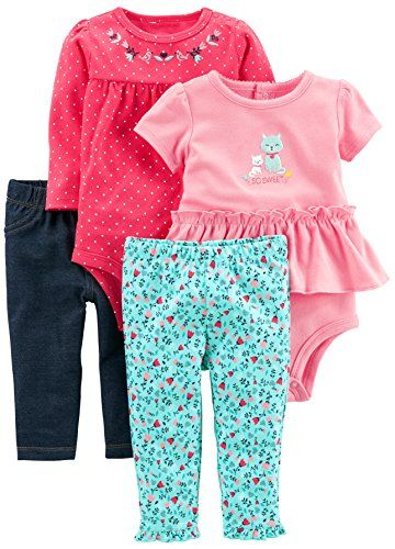 981752083072 Simple Joys by Carter s Baby Girls  4-Piece Bodysuit and ...