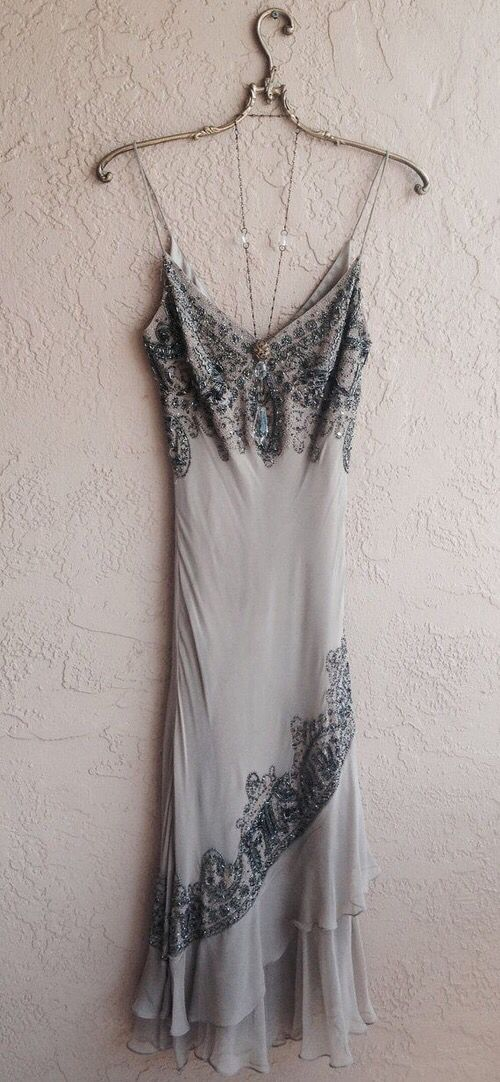 Gray dress with beads