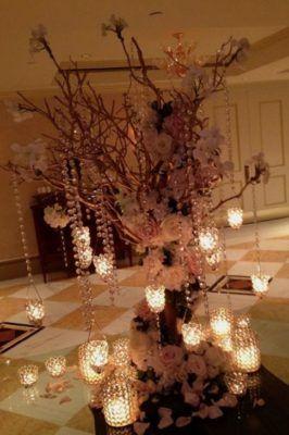 Unique Hanging Lights Wedding Reception Centerpiece