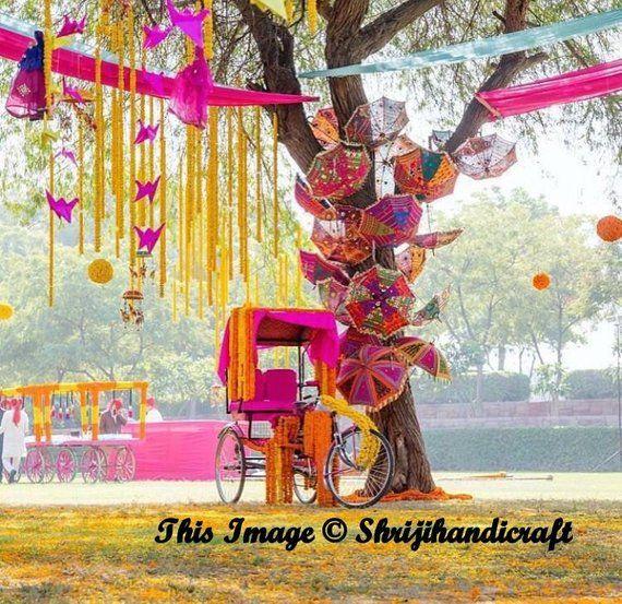 d68ae533dd343 20 Pcs Lot Indian Cotton Fabric Mirror Work Vintage Parasol Wedding Umbrella  Outdoor Decorations Han