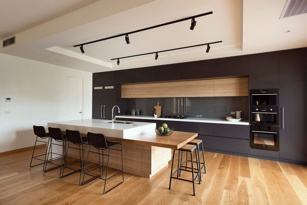 Modern Bar Stools Kitchen Modern With Timber Island Bench Modern