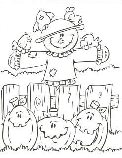 Scarecrow And Jack O Lanterns Coloring Page Fall Coloring Pages