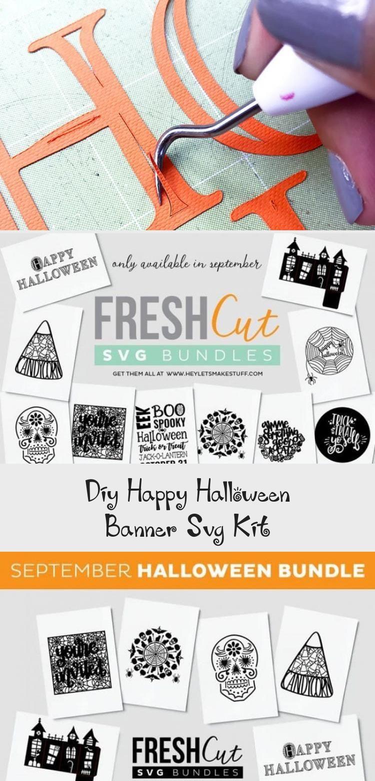 DIY Happy Halloween Banner SVG Kit - 100 Directions #bannerLetters #bannerApuntes #Eventbanner #Foodbanner #Fashionbanner #happyhalloweenschriftzug