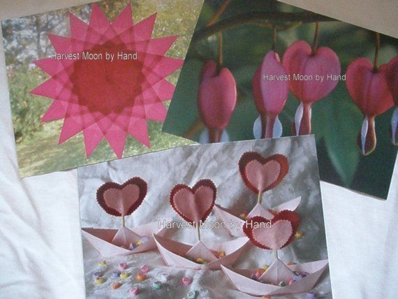 Set Of 3 Postcards Pink Waldorf Window Star Bleeding Heart Flowers Origami Boats With Heart Sails Candy Hearts Birth Handmade Origami Boat