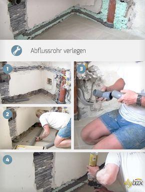 abflussrohr verlegen fallrohr ursprung und schritt f r. Black Bedroom Furniture Sets. Home Design Ideas