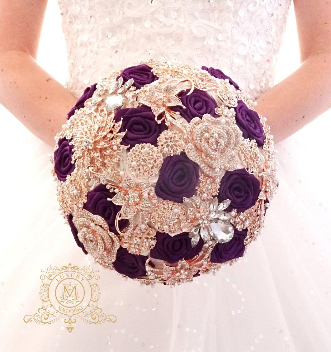 BROOCH BOUQUET Plum And Rose Gold Purple Wedding Bridal Bouquet Broach Boquet Alternative Crystal Bling Jeweled Bouquetpurple
