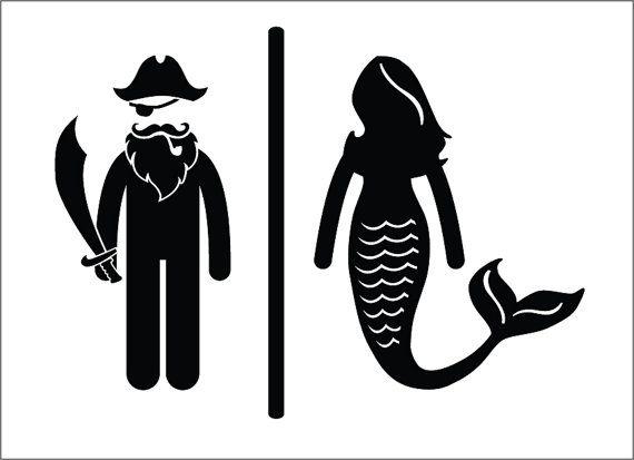 Pirate Mermaid Restroom Door Sign Premium Vinyl Decal