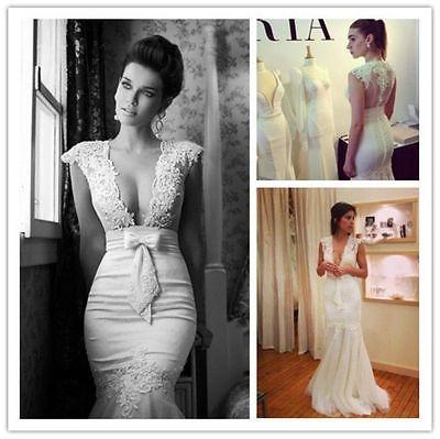 White/ivory organza lace appliques mermaid wedding bridal dress ...