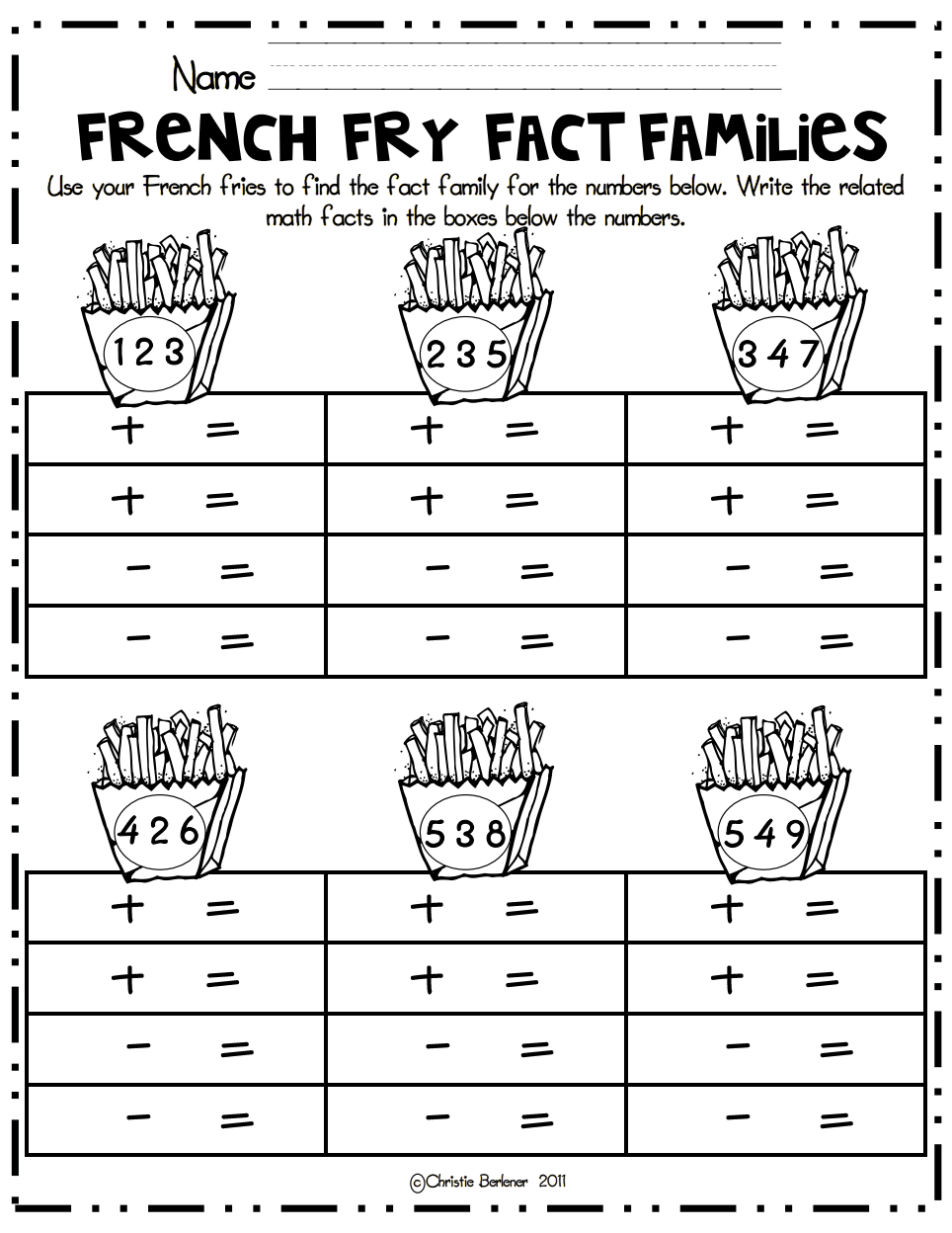 worksheet Addition Fact Family Worksheets french fry fact families math center pdf classroom pinterest family worksheets for first grade addition
