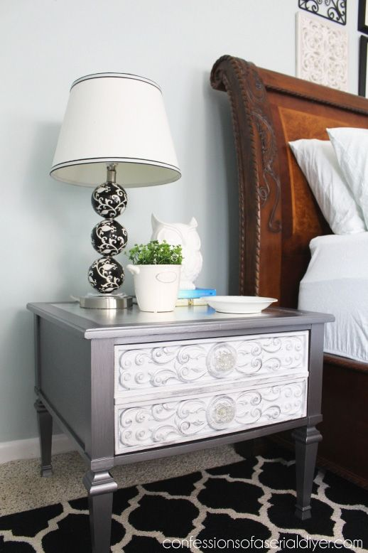 Thrift store throw away gets a glam makeover with silver leafing and