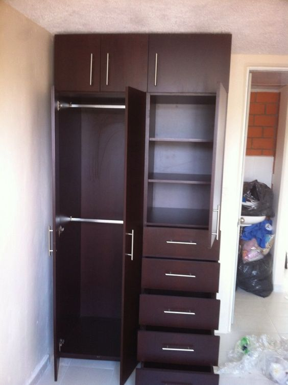 Closet peque o ideas recamara dormitorio pinterest for Armado de closet de melamina