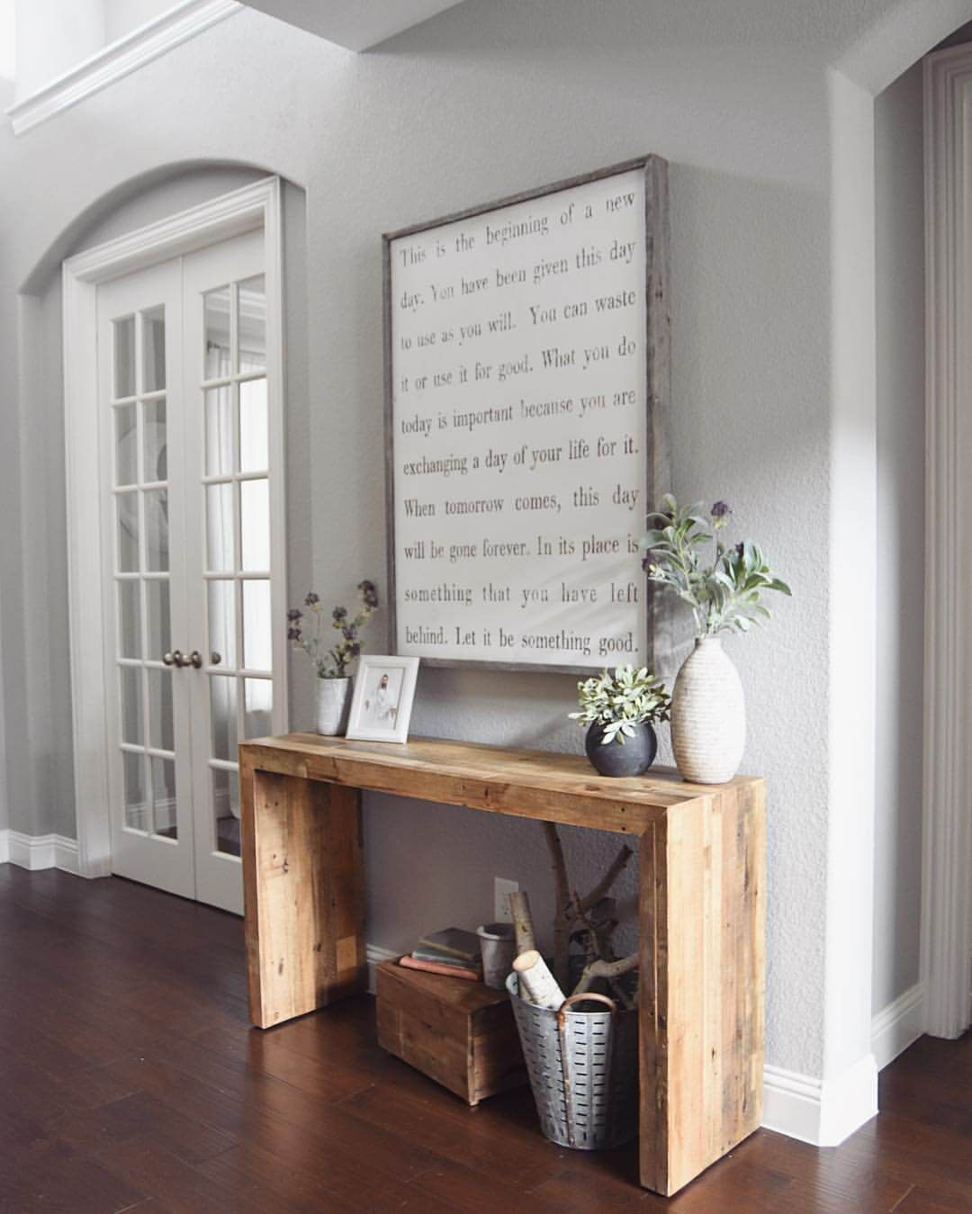 Rustic hallway furniture  Mod Wood Accent Table with Oversized Quote  Easy Home Décor Tips