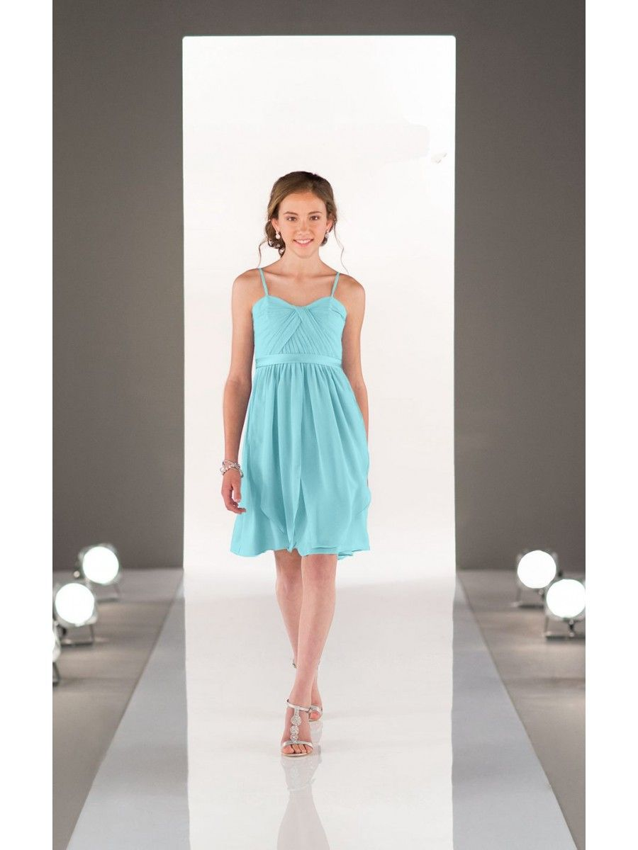 Chiffon Spaghetti Straps Short Blue Junior Bridesmaid Dresses 3303008