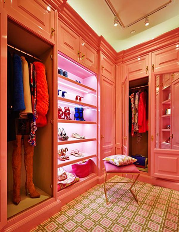A pink walk in closet - and why not? This and more lavish New York interiors today on Interiorator.com