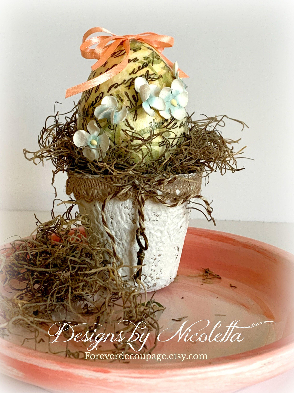 Vintage Inspired Peat Pot Easter Egg