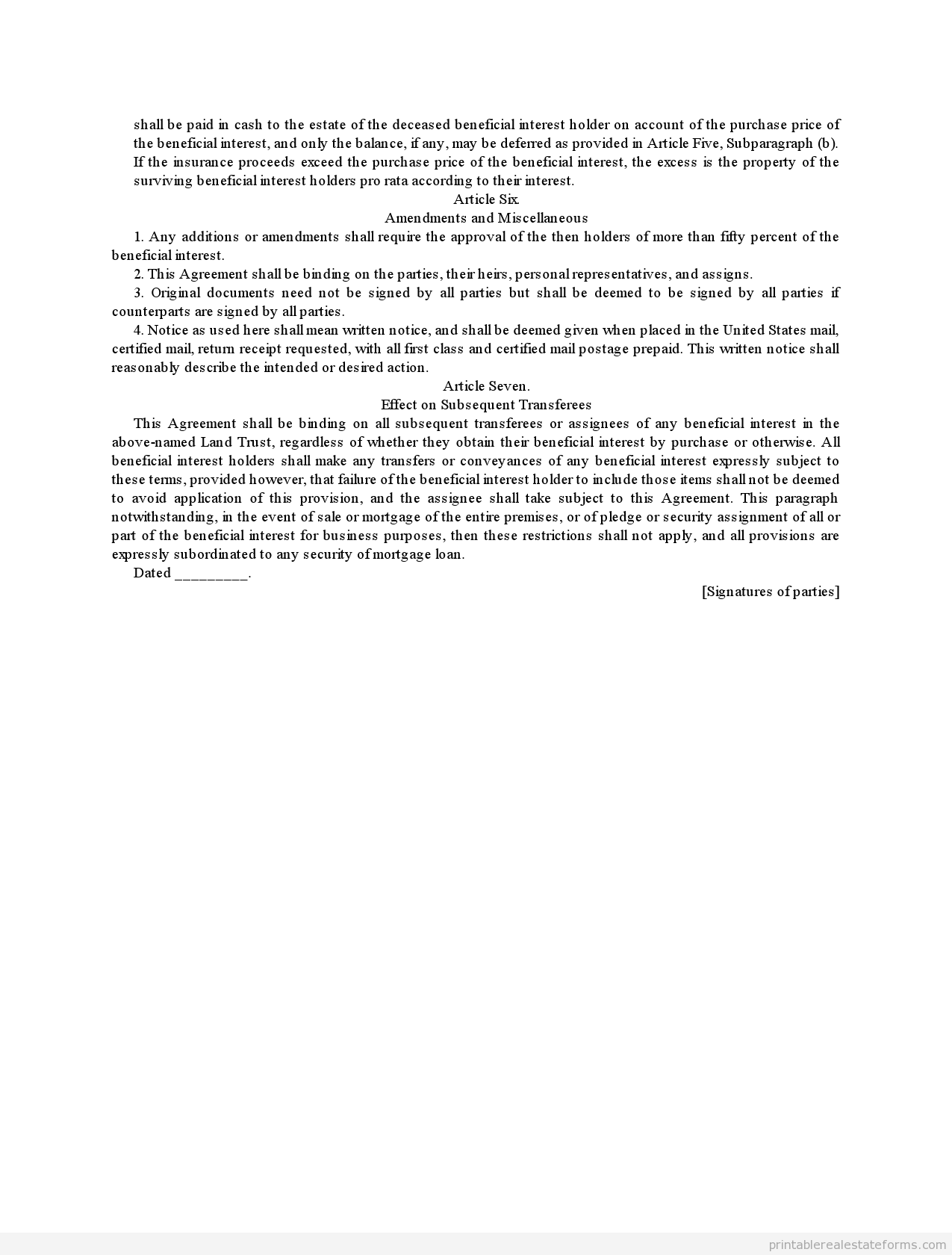 Sample Printable Complex Beneficiary Agreement Form