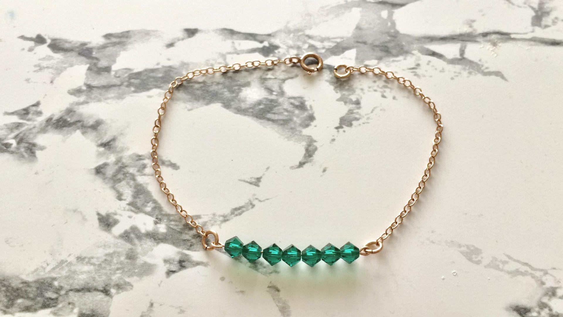 Bracelet en cristal swarovski vert emeraude et chaine rose gold
