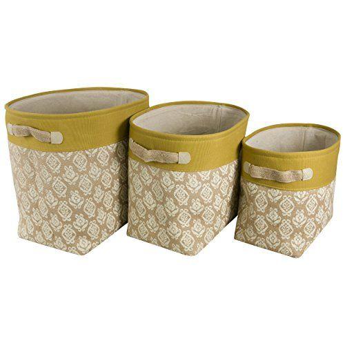 Natural Burlap Storage Bins Set Of 3 Mustard Raymond Waites Http
