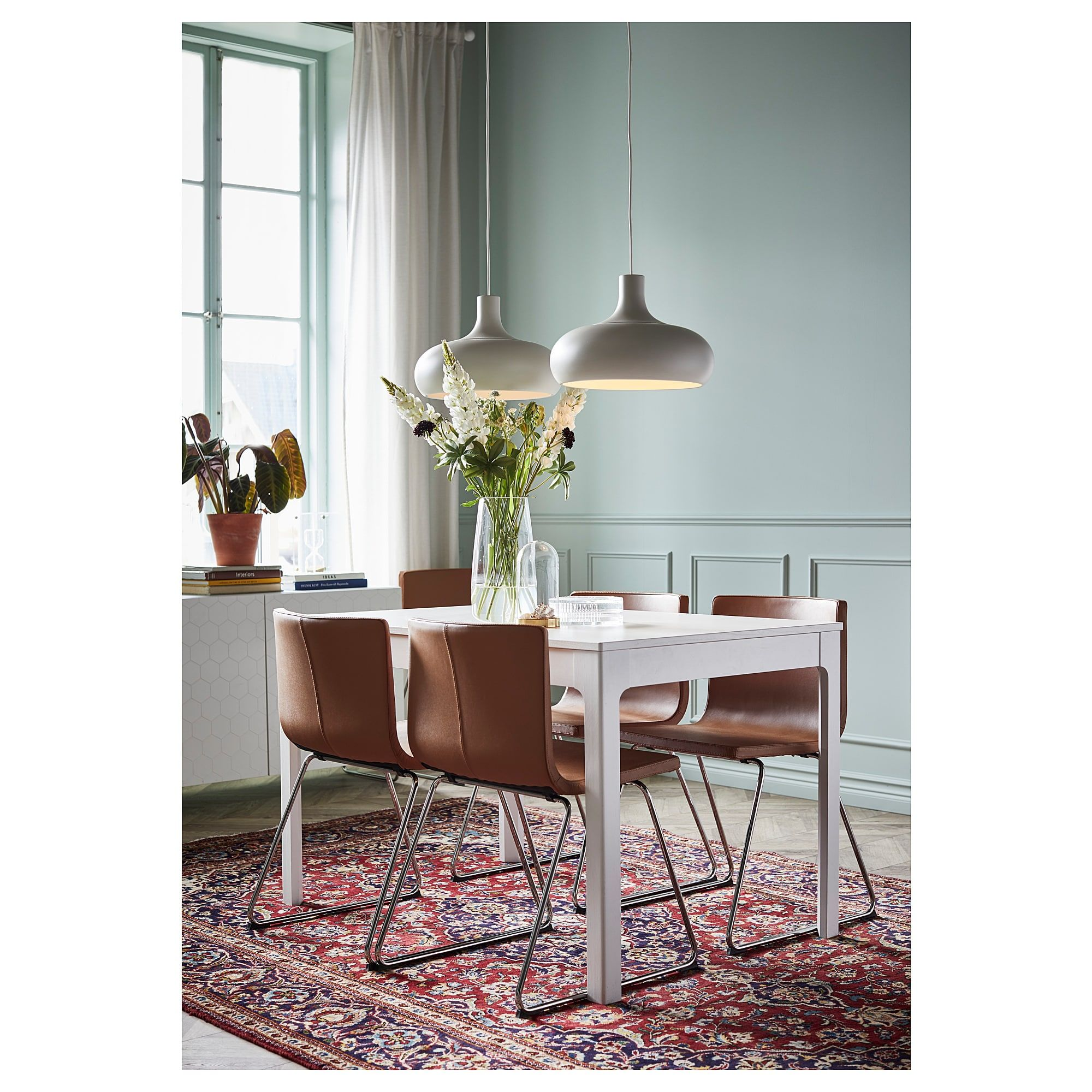Ekedalen Bernhard Table And 4 Chairs White Mjuk Golden Brown