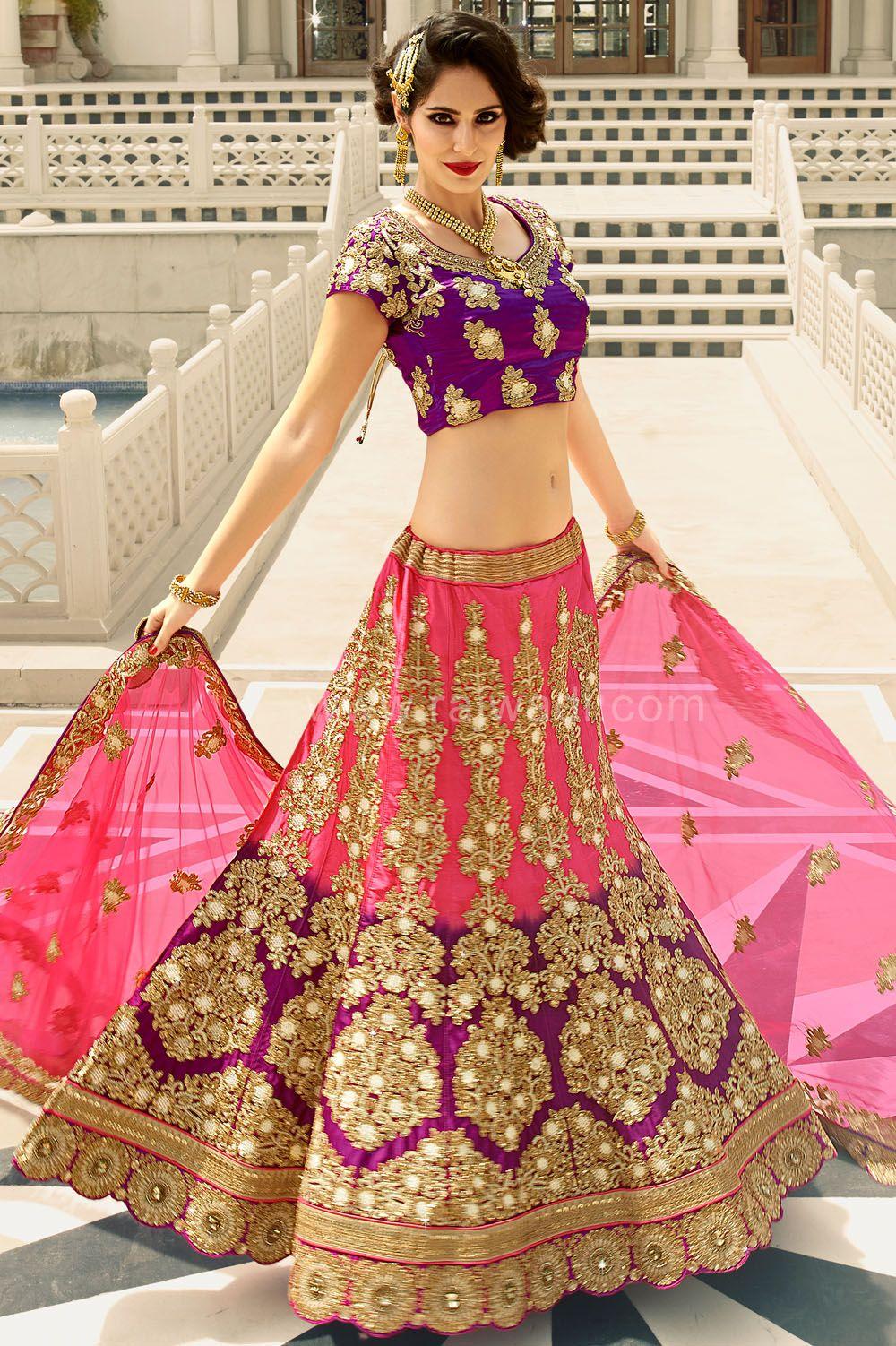 e9fb0ab3db Gorgeous Art Silk fabric Hot Pink and Purple coloured Lehenga is  beautifully crafted with resham, zari, stone, pita, sequins, diamond work  and designer cut ...
