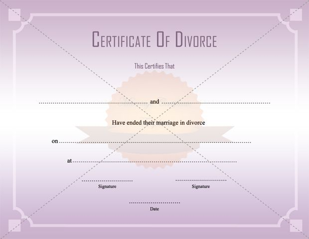Divorce Decree Certificate Template Printable