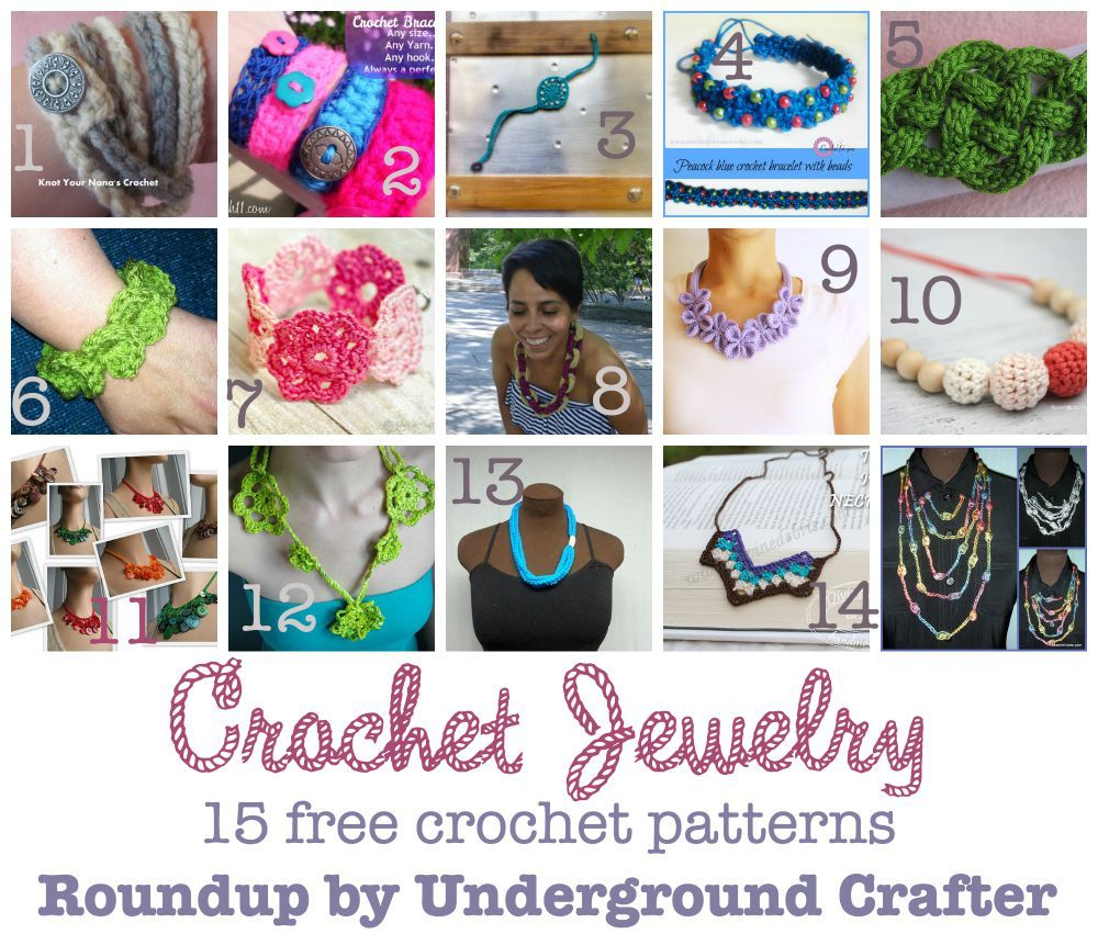 Roundup of 15 free #crochet #jewelry patterns