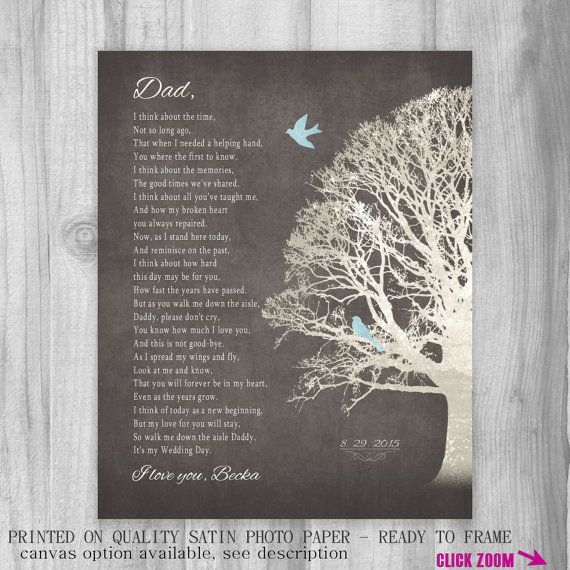 Father Of Bride Gift Daughter On Wedding Day From To Dad Poem Art Print Personalized