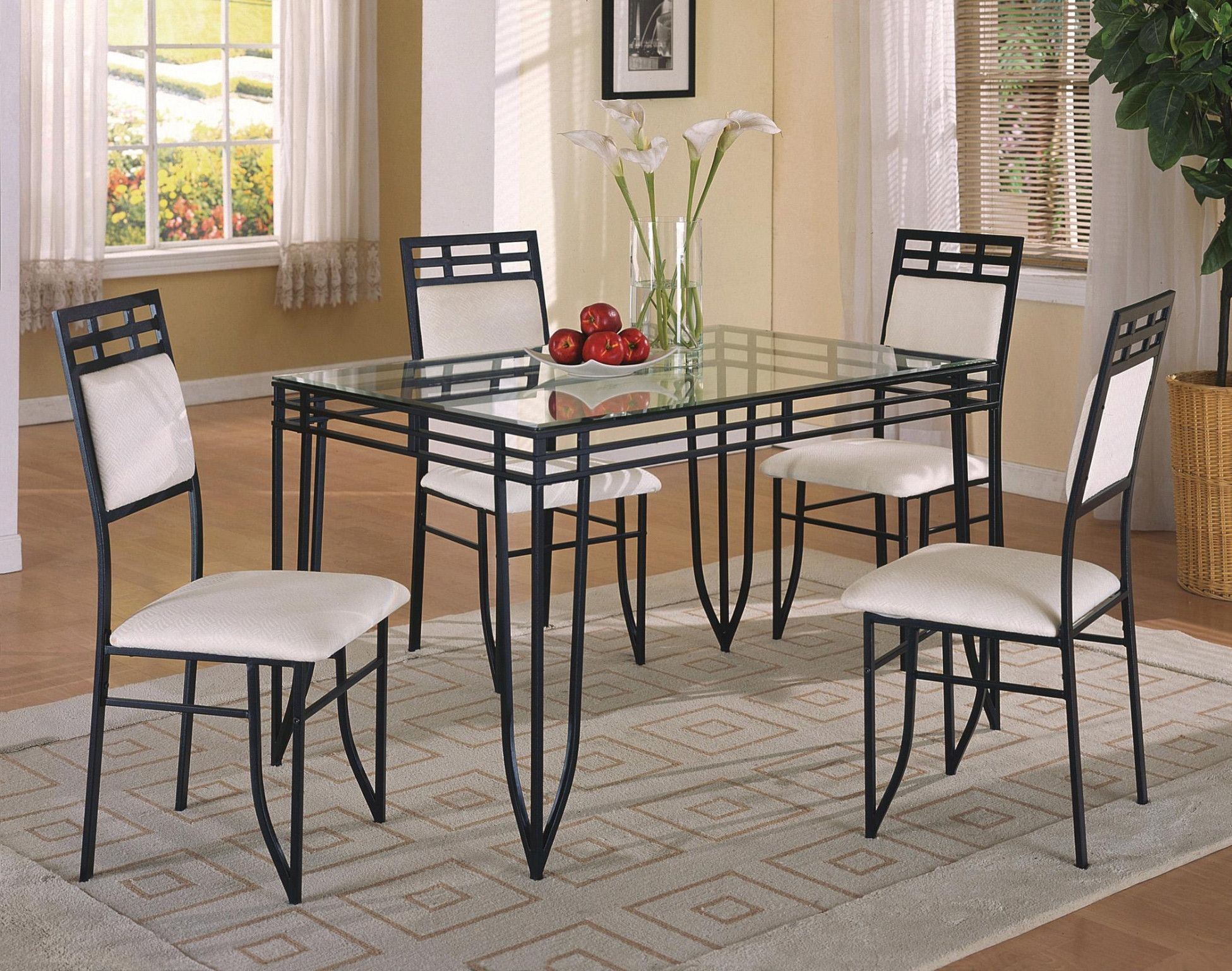 Matrix 5 Piece Dinette Table And 4 Chairs 299 00 Gl Top 32 X 48 30 H 8mm Bevel 1116set Chair 17 19 3 37 C M