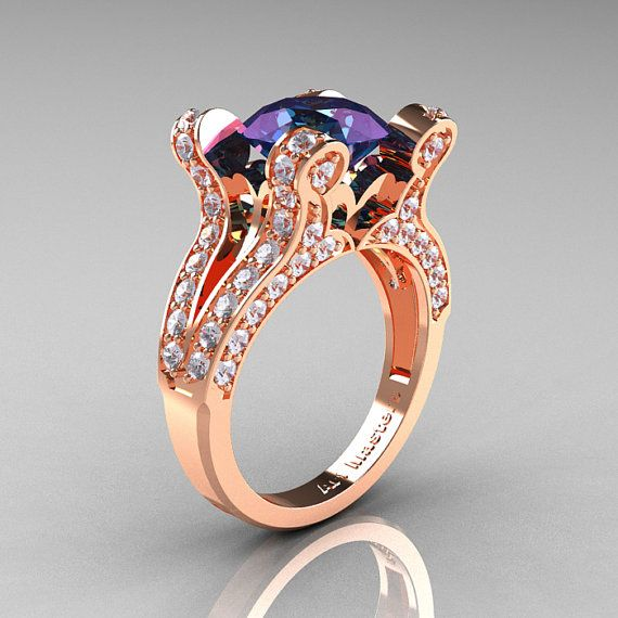 French Vintage 14K Rose Gold 30 CT Russian Alexandrite Diamond